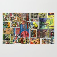movie posters Area & Throw Rugs featuring Vintage Sci-Fi Movie Posters  |  Collage by Silvio Ledbetter