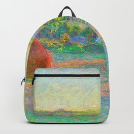 Stacks of Wheat End of Summer Painting Claude Monet French Impressionism Famous Art Oil On Canvas Backpack