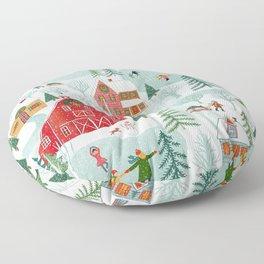 New England Christmas Floor Pillow