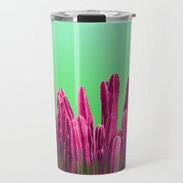 Vibrant Sunrise Cactus Landscape Glitch Travel Mug