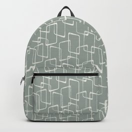Gray Green Retro Geometric Pattern Backpack