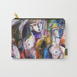 Two Woman and Horses, nude figurative portrait painting Carry-All Pouch