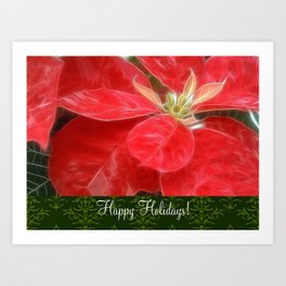 Mottled Red Poinsettia 1 Ephemeral Happy Holidays S6F1 Art Print