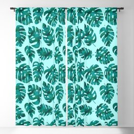 Green Tropical Monstera Leaves Blackout Curtain