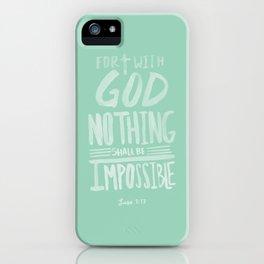 Luke 1: 37 x Mint iPhone Case