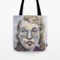 nerd Tote Bags featuring Nerd by Carol Jimenez