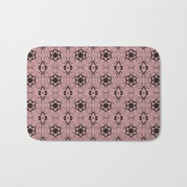 Bridal Rose Floral Geometric Pattern Bath Mat