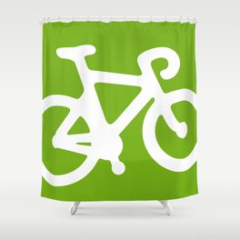 Green Bike Shower Curtain