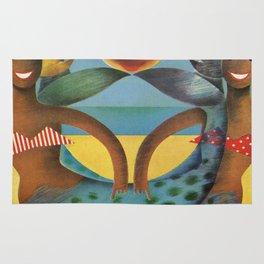 Mermaids on Beach Vintage Poster Rug
