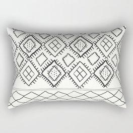 Beni Moroccan Print in Cream and Black Rectangular Pillow