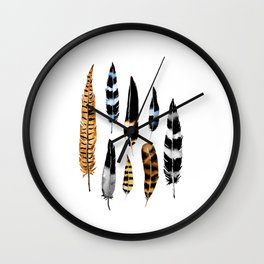 Feather Collage Wall Clock