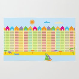 Beach cabins pattern stripes Rug