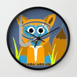Blue Snorkel Fox Wall Clock