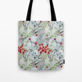 Red Poppies with Blue Tote Bag