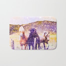 Southwest Horse Ranch Horses Bath Mat