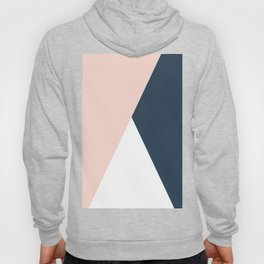 Elegant blush pink & navy blue geometric triangles Hoody
