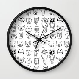 Wild Animal Portraits in Black and White Wall Clock