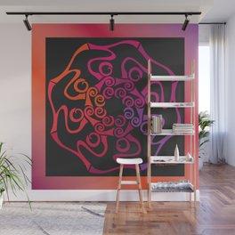 Hope Flower Mandala - Red Orange Violet Dynamic Wall Mural
