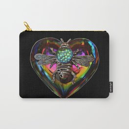 Mentalembellisher Psychedelic Rainbow Heart Necklace with Silver Bee & Vintage Snakeskin Helio Glass Carry-All Pouch