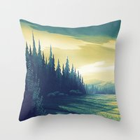 oregon Throw Pillows featuring Oregon Field by Big Friend