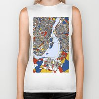 montreal Biker Tanks featuring montreal mondrian map by Mondrian Maps
