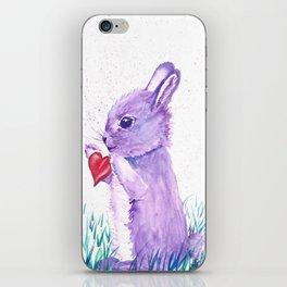 Purple Watercolor Bunny Rabbit Art iPhone Skin