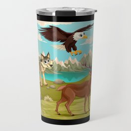 Funny animals in a mountain landscape Travel Mug