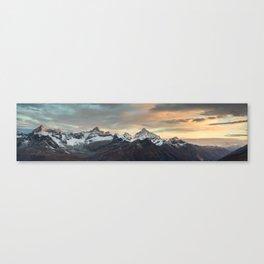 Panorama from Gornergrat at sunrise Canvas Print