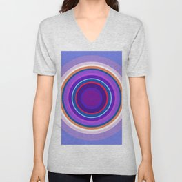 Mod Circles in Periwinkle and Purple Unisex V-Neck