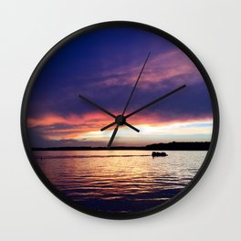 Indiana Sunset on the Lake Wall Clock