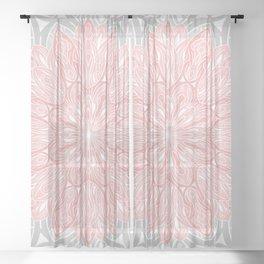 MANDALA IN GREY AND PINK Sheer Curtain