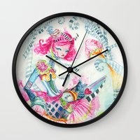 alice in wonderland Wall Clocks featuring WonderLand by Kao Lee Thao @InnerSwirl.com