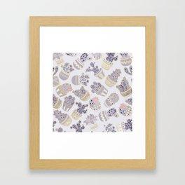 Elegant modern faux gold lavender pink cactus floral Framed Art Print
