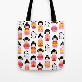 Kokeshi dolls cute pattern Tote Bag