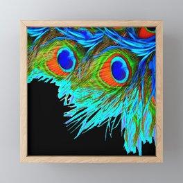BLACK MODERN ART BLUE-GREEN  PEACOCK FEATHER S ART Framed Mini Art Print