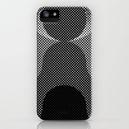 Shadows, mountains, a big eye, all made out of small dots. Black and white. iPhone Case