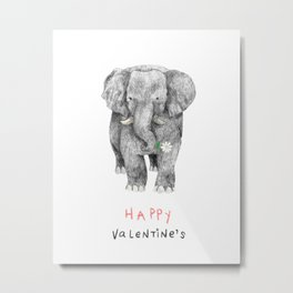 Happy Elephant Gives You a Daisy Metal Print