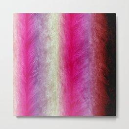 Bright Pink, Violet & Cream Textured Stripes Metal Print