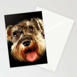 Miniature Schnauzer Portrait Watercolor Digital Art Stationery Cards