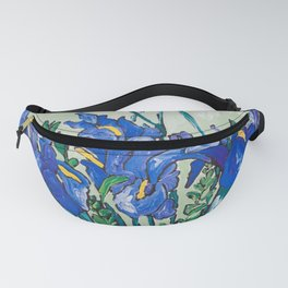 Iris Bouquet in Chinoiserie Vase on Blue and White Striped Tablecloth on Painterly Mint Green Fanny Pack