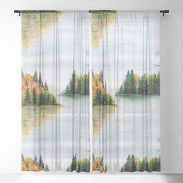 Fall Lake Landscape Sheer Curtain