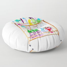 Watercolor Bar Cart no 1 Floor Pillow