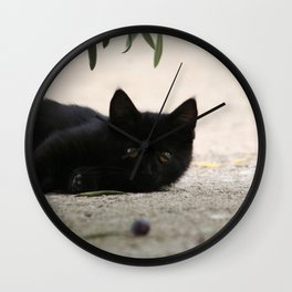 Black Kitten Playing with Olives Wall Clock