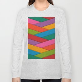 Abstract Colorful Decorative 3D Striped Pattern Long Sleeve T-shirt