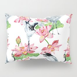 Pattern with cranes and lotuses Pillow Sham