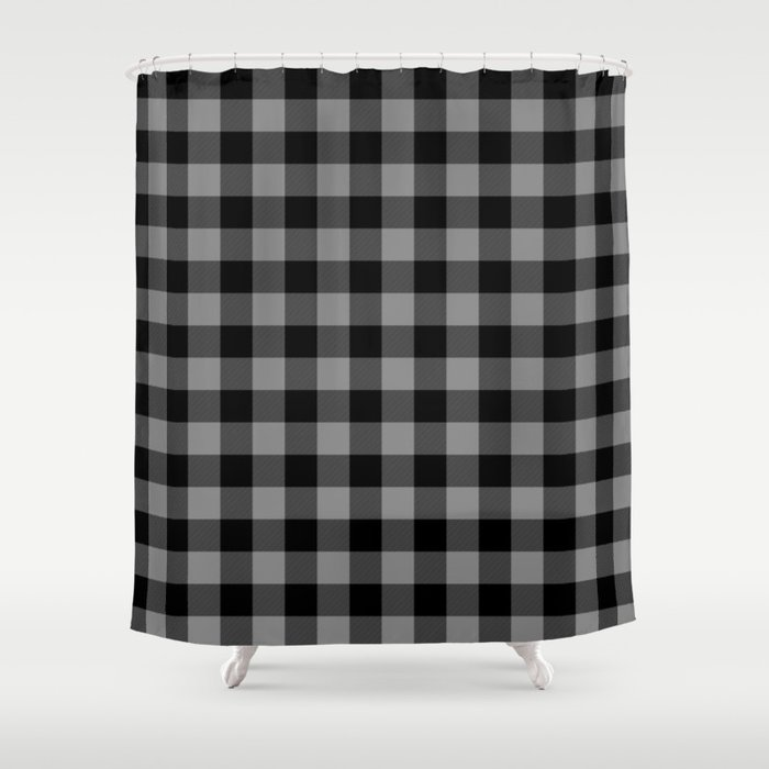 Gray And Black Lumberjack Buffalo Plaid Fabric Shower Curtain
