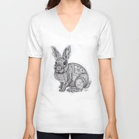 "blush V-neck T-shirts featuring ""Blush Bunny"" by Cindy Lysonski - Creative Daydreamzzzz"