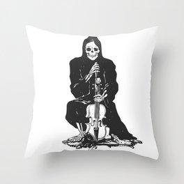 Violinist skull - grim reaper - cartoon skeleton - halloween illustration Throw Pillow