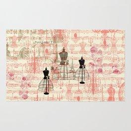 Vintage coral pink mannequin music note collage design Rug