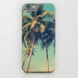 Aloha! Retro palm tree on the beach - summer vibes vintage illustration iPhone Case
